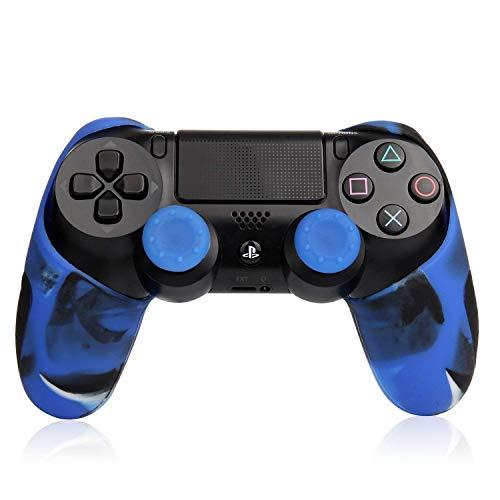 PS4 コントローラーカバー グリップ ケース プレステ4 迷彩カラー ブルー