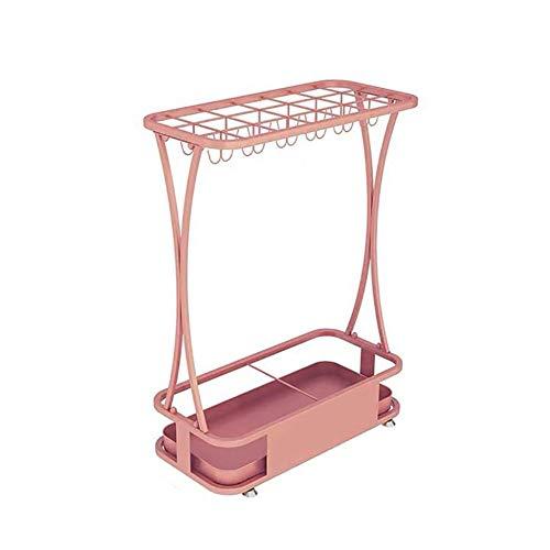 Paragüeros ZLI Metal Rectangular con 24 Ganchos y Bandeja de Goteo, Soporte para Decor de Oficina en el Hogar con Bastones de Golf, 60cm/23,6'' Alto (Color : Pink)