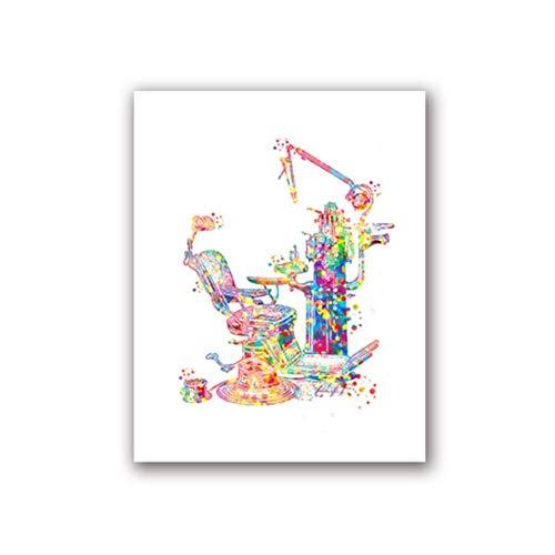 A&D Zahnmedizinische Ausrüstung Medizinische Poster und Drucke Zähne Anatomie Aquarell Kunst Bild Leinwand Malerei Zahnarzt Geschenk Klinik Wand Decor-50x70cmx1pcs-No Frame