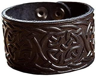 "Real Leather Viking Tress Bracelet 6.3""- 7"" Wrist Adjustable Black Cuff Wrap Punk Wristband Stylish Accessory Gift Box"