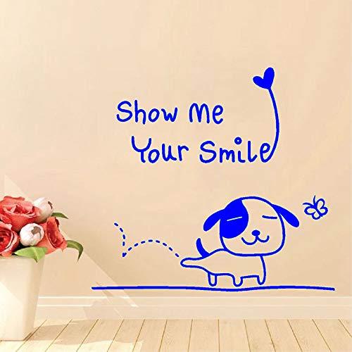 """Feliz cachorro con""""Muéstrame tu sonrisa"""" Etiqueta de la pared Baño Niños Decoración del hogar Vinilo Arte Extraíble Cartel Mural Calcomanías ~ 1 42 * 57CM"""
