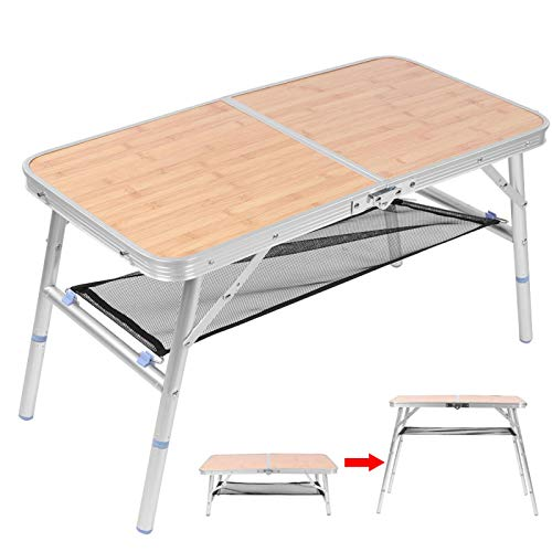 Jingyig Folding Table, Folding Practical Multi-functional Light Picnic Folding Table, Adjustable Height Durable for Camping Picnic Outdoors BBQ