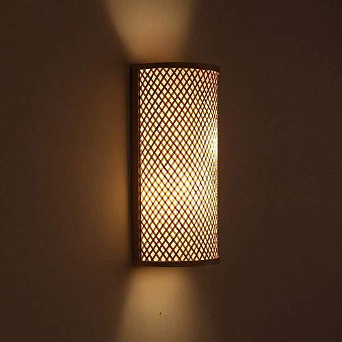 DINGYGJ Bambú Mimbre Ratán Sombra Túnel Aplique de Pared Aplique Luz rústica Dormitorio Pasillo de Noche 2 Luces E27 Aplique de Aplique Luminaria Aplique de Pared Linterna Decoración ZXC