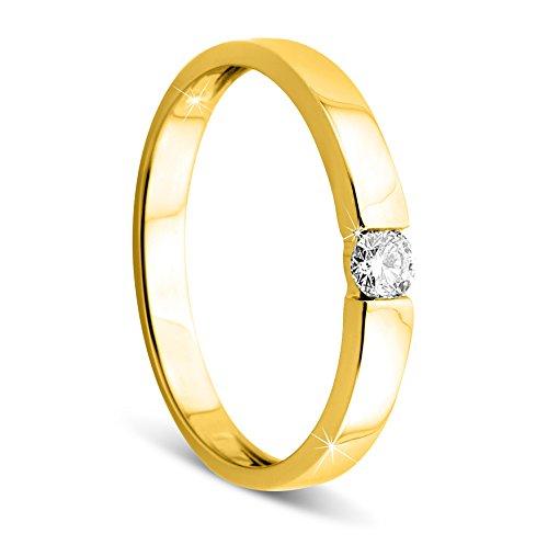 Orovi Damen Verlobungsring Gold Solitärring Diamantring 9 Karat (375) Brillianten 0.10crt GelbGold Ring mit Diamanten