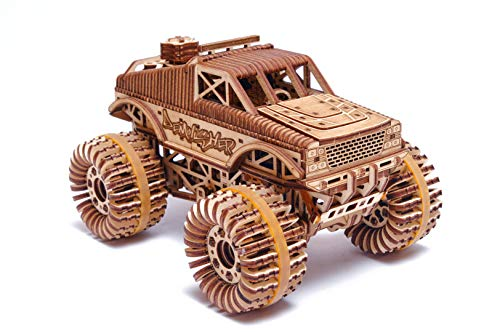 Wood Trick Monster Pickup Truck Car 3D Wooden Puzzle - Rides up to 18 feet - 8.3x6.3 in - Model Truck Kit to Build for Adults and Kids