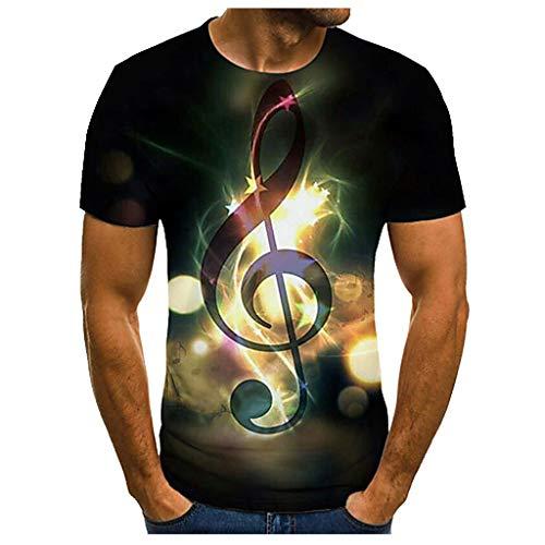 Xmiral T-Shirt Maglietta Uomo 3D Stampato Girocollo Manica Corta con Motivo T-Shirt (S,1Oro)