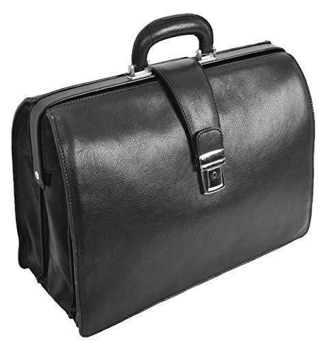 Italienisches Leder Aktentasche für Ärzte Geschäft Profis Gladstone Tasche Schwarz Djoser