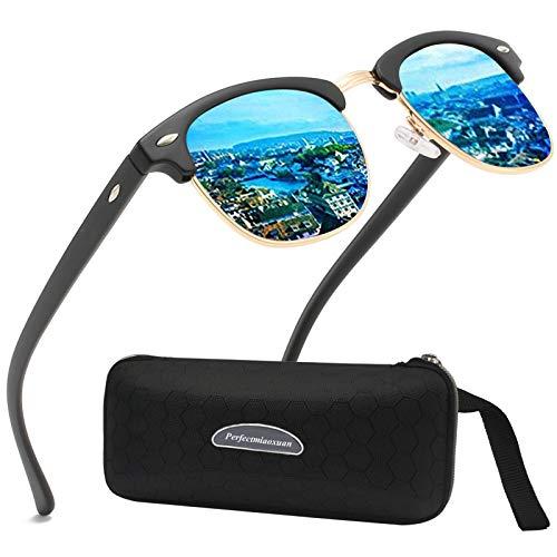 Perfectmiaoxuan Polarisierte Sonnenbrille Herren Damen Retro Sonnenbrille Männlich/Sport im Freien Golf Radfahren Angeln Wandern Eyewear Sonnenbrille