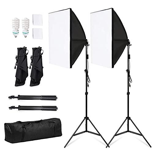 Softbox, 2 Kit Iluminacion Fotografia 50x70 cm, 2x135W 5500K Bombilla, Softbox Kit con Trípode Plegable y Bolsa de Transporte, para Fotografía de Moda, Retrato, Productos Comerciales y Video