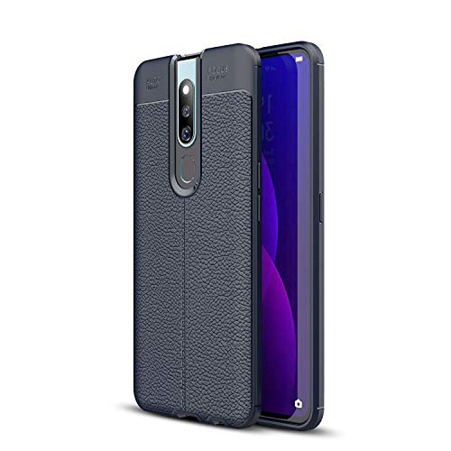 Oppo F11 Pro Case, Silicone Leather[Slim Thin] Flexible TPU Protective Case Shock Absorption Carbon Fiber Cover for Oppo F11 Pro Case (Navy)