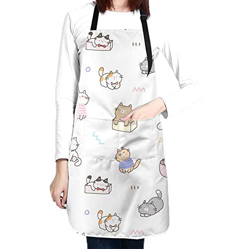 Cute Cats Kitchen Aprons For Women Men Plus Size With 2 Pockets Waterproof Adjustable Neck Strap For Mother'S Day,Thanksgiving,Christmas,Cooking,Baking & Painting