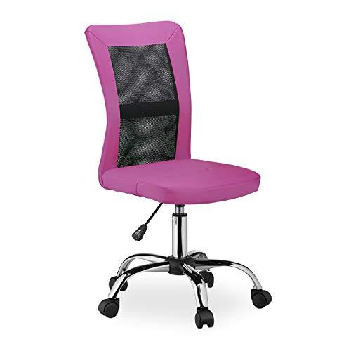Relaxdays Silla de Oficina giratoria de Altura Ajustable, ergonómica, cómoda, soporta hasta 90 kg, 102 x 55 x 55 cm, Color Rosa
