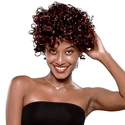Curly Afro Wigs for Black Women Human Hair,Short Curly Afro Wigs Non Lace Glueless Wig with Bangs Brazilian Human Hair Wigs 99J
