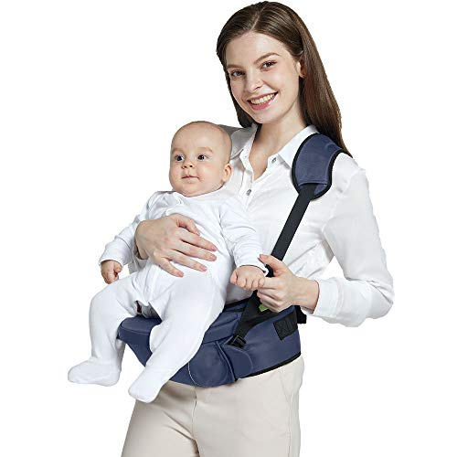 Baby Hip Seat Carrier Baby Waist Stool for Child Infant Toddler with Adjustable Safety Belt Protection for Baby Ergonomic Carriers Pocket Soft Base Blue