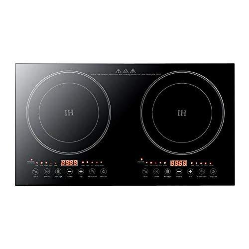 Aohuada Placa de inducción doble de 4400 W, con temporizador, 2 placas de cocción con pantalla táctil, placa de inducción, eléctrica y portátil