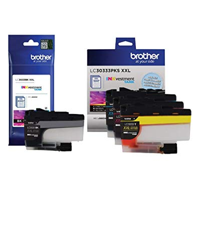 Brother LC3033 BK/C/M/Y Super High Yield Ink-4 Pack (Includes (1) LC3033BK, (1) LC3033C, (1) LC3033M, (1) LC3033Y)