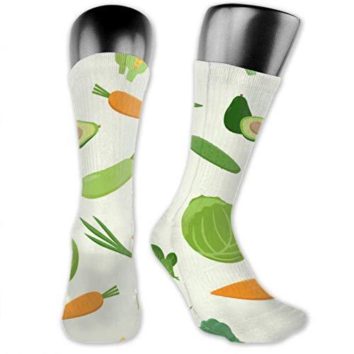 Calcetines Leila Marcus para hombres y mujeres son cómodos, ligeros y sudorosos, divertidos calcetines de color verde fresco variado patrón de verduras medianas y largas.
