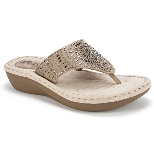 CLIFFS BY WHITE MOUNTAIN Shoes Cienna Women's Sandal, Stone/Fabric, 9 M