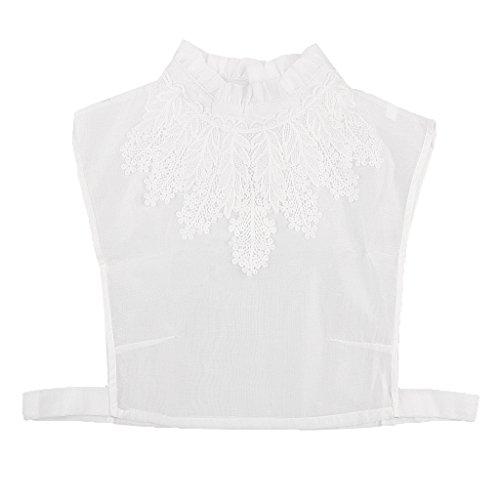 MagiDeal Frauen Kragen Abnehmbare Hälfte Shirt Bluse Weiß/Schwarz/Denim/Chiffon - Weiß Blumen, Halbes Hemd