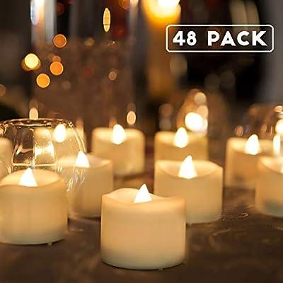Homemory Battery Tea Lights Bulk, Set of 48 Flameless LED Tea Candles, Electric Tea Lights with Flickering, Long-Lasting Battery Life