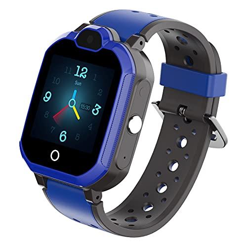 HQPCAHL Reloj Inteligente para Niños Teléfono GPS + Localizador De Seguimiento LBS IP67 Reloj Impermeable para Estudiantes para Niños con Reloj Despertador SOS Video Chat Toma De Fotos Remota