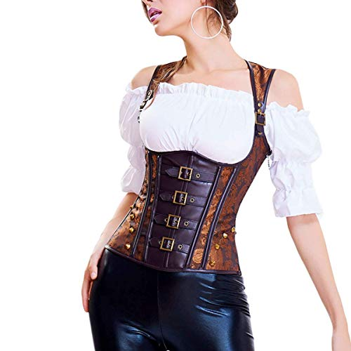 Topmeon Women's Steel Boned Vintage Corset Steampunk Gothic Bustier Waist Cincher Vest