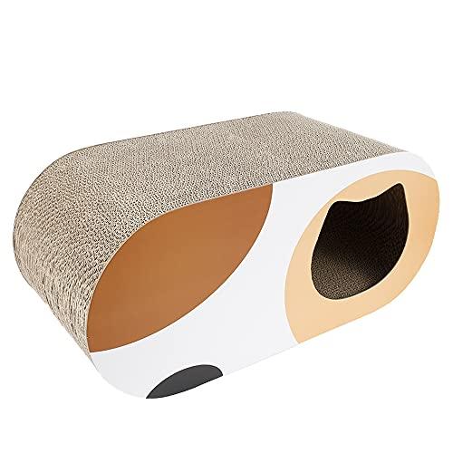 liuzhuo 猫 爪とぎ 猫 つめとぎ 段ボール 猫ハウス 高密度 耐久 爪磨き 家具傷防止 運動不足改善 ストレス解消 両面使用可能 猫 おもちゃ (オレンジ)
