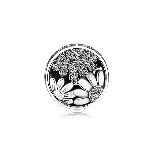 Pandora 925 Sterling Silver Pendant Diy Mmingyu Floral Charm Design Sterling Silver Sparkling Sunflower Bead for Jewelry Making Fit Bracelet