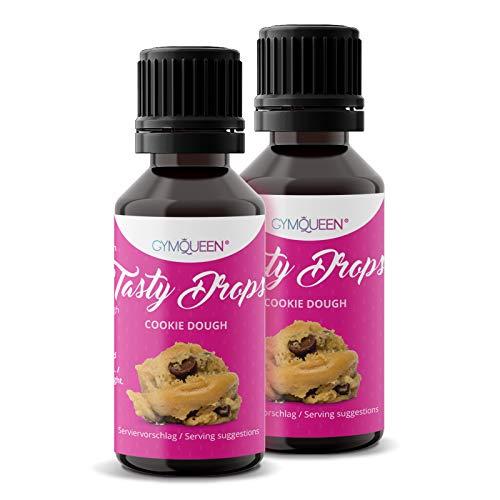 GymQueen Tasty Drops 2x30ml | Kalorienfreie, Zuckerfreie und Fettfreie Flavour Drops | Aroma Tropfen zum Süßen von Lebensmitteln | Geschmackstropfen ohne Künstliche Farbstoffe | Cookie Dough