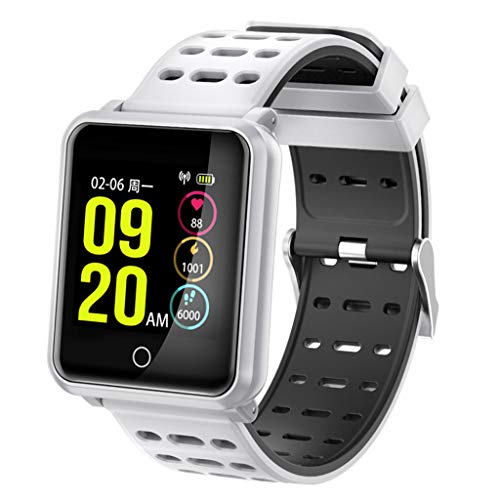 C-Xka Fitness-Tracker, Farbbildschirm-Aktivitäts-Tracker mit Herzfrequenz-Echtzeitüberwachung, IP68 wasserdicht Schwimmen Fitness Uhr Schrittzähler für Männer Frauen Kinder (Farbe : Weiß)