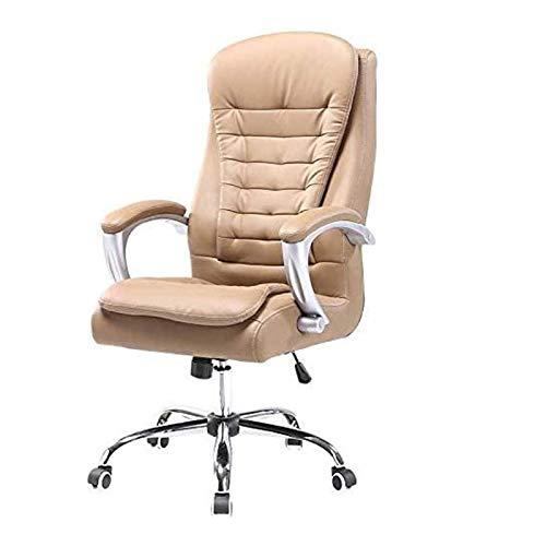 DJDLLZY Liggande stolar vardagsrum fåtöljer hög rygg kontorsstol – verkställande läder datorbord svängbar uppgiftsstol datorspelstolar (färg: Brun)