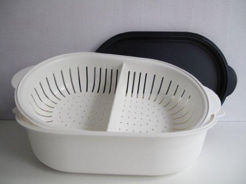 TUPPERWARE Küchenhelfer Sieb Super Servierstar 4,0 L schwarz-weiß Küchenchef