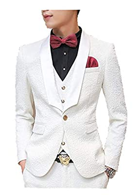 MOGU Mens New Casual Slim Fit Skinny Dress Suits 3 Piece US Size 34 (Label Asian Size L) White by