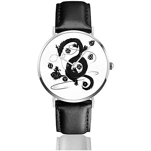Dragon Ball Z Shenron Wish Watches Reloj de Cuero de Cuarzo con Correa de Cuero Negra para Regalo de colección