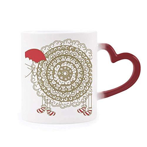 DIYthinker Las ovejas de Dibujos Animados Sombrero de la Navidad Calcetines Morphing Taza Sensible al Calor de la Copa roja del corazón