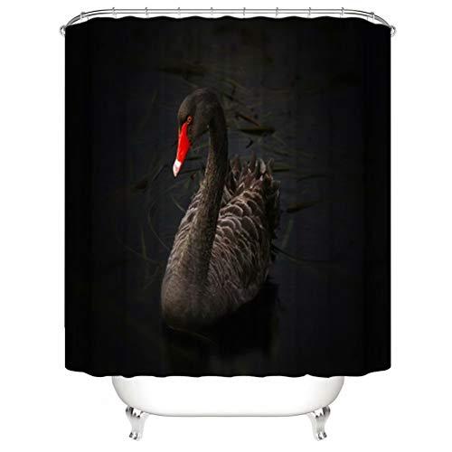 Haus Dekoration. Der Schwarze Schwan. Duschvorhang: 180X180 cm. 12 C-Förmige Haken. 3D Hd Druck. Wasserdicht. Nicht Verblassen.