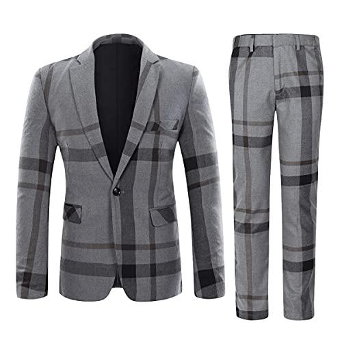 Traje de tela escocesa de 2 piezas para hombre, ajuste delgado, 1 botón, formal a cuadros de negocios, chaqueta y pantalones