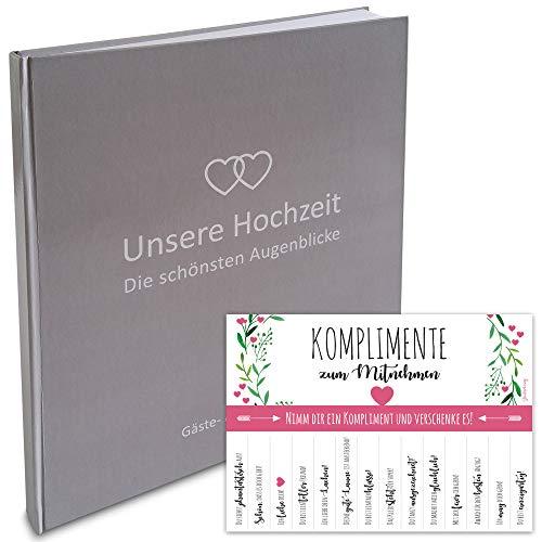 LionSports Premium Gästebuch zur Hochzeit mit Herzen 24 x 22 cm - 160 weiße Seiten für Wünsche und als Fotoalbum – Perfektes Hochzeitsalbum um stilvoll zu Heiraten