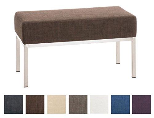 CLP 2er Sitzbank Lamega Stoff I Sitzbank Mit Polsterung Und Edelstahlgestell, Farbe:braun