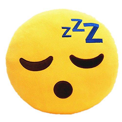 LI&HI 32cm Emoji Smiley Emoticon Yellow Round Cushion Pillow Stuffed Plush Soft Toy (Sleepling)