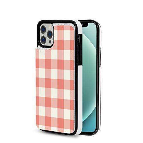 Kompatibel mit iPhone 12 Pro Max Hülle, Korallen-Karo-Muster, Premium-PU-Leder, Schutzhülle, schmal, rutschfest, kratzfest, Ganzkörper-Schutzhülle für iPhone 6,7 Zoll