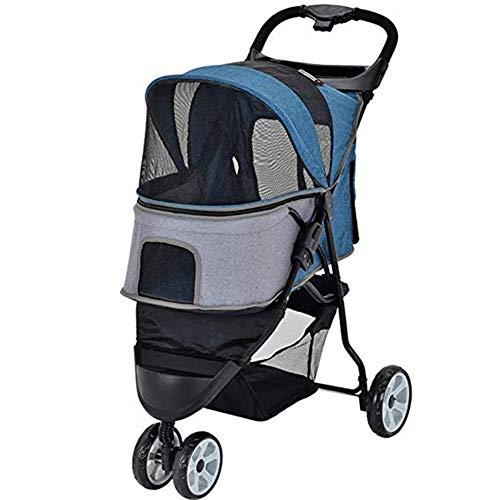 LMCWSTC Faltbarer dreirädriger Kinderwagen, Kinderwagen for Katzen und Hunde, Geländewagen, mit Ablagekorb, Getränkehalter (Color : Blue)