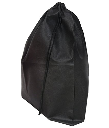 Set of 2 Large Travel Boot Bags, Portable Shoe Bags with Drawstring, 20 inches x 24 inches, Black