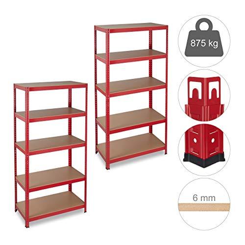 2 x Schwerlastregal, Traglast 875 kg, 5 Ebenen, zum Stecken, Keller, Garage, HxBxT: 180 x 90 x 45 cm, Stahl, MDF, rot