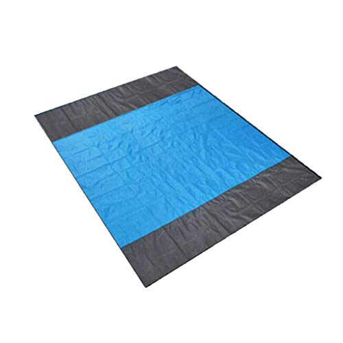 """CapsA Sand Free Beach mat Large Waterproof Quick Drying Ripstop Nylon Compact Outdoor Picnic Blanket Best Sand Proof Beach Blanket for Travel Camping Hiking 57""""x 79""""/82"""" x 79"""" (Blue, 57""""x 79"""")"""