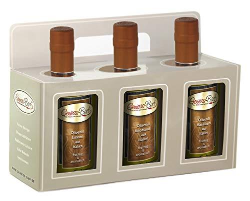 Olivenöl Geschenkbox 3x 0,5L in premium Qualität Limone / Knoblauch / Basilikum extra vergine kaltgepresst