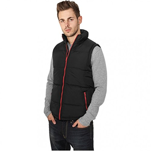 Urban Classics Contrast Bubble Vest Manches, Multicolore (Blk/LGR 00035), Medium Homme