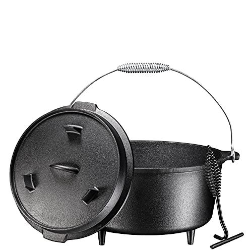 Bruntmor, 3 Legged Pre-Seasoned Cast Iron Camping Flange lid Deep Dutch Oven, 8.5 Quart w/Metal Handle