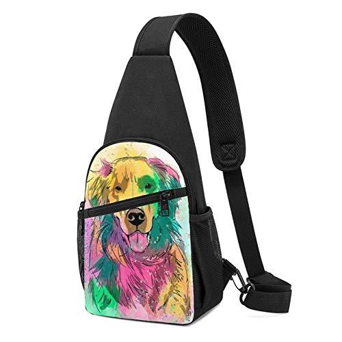 JONINOT Sling Bag Wrinkle Resistant Chest Shoulder Backpack Colorful Golden Hair Dog Pattern Waterproof Pack Chest Crossbody Bag Men Women Teens