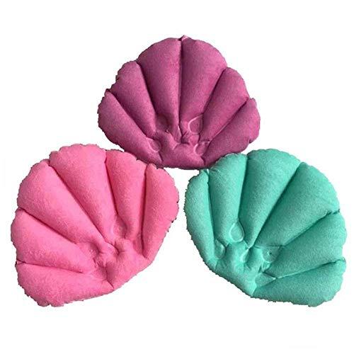 SPLLEADER Bain Oreiller avec Ventouse Gonflable Tissu Éponge en Forme De Ventilateur De Soutien du Cou Doux Oreiller Spa Cou Baignoire Coussin Couleur Aléatoire